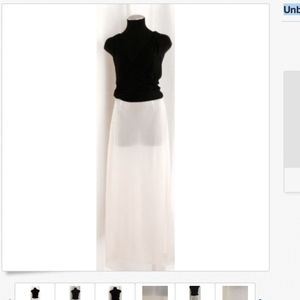 Vintage Ivory Sheer Zip Side Maxi Skirt